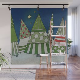 Night in the Winter Forest Wall Mural