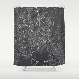 Copenhagen Map, Denmark - Gray Shower Curtain