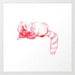 Red Panda Yawning Art Print