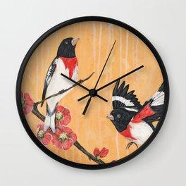 Rest Flowering Quince Rose-breasted Grosbeak Wall Clock