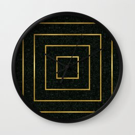 Golden Squares Wall Clock