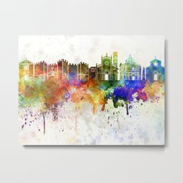 Prato skyline in watercolor background Metal Print