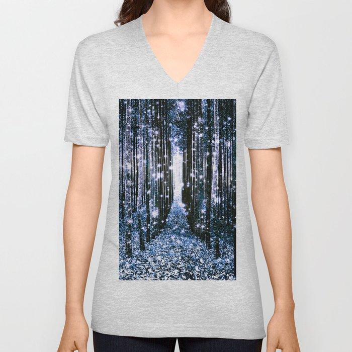 Magical Forest Dark Blue Elegance Unisex V-Neck
