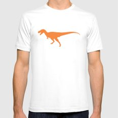 T-rex Orange Dinosaur White MEDIUM Mens Fitted Tee