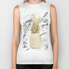 Gold Pineapple on Marble Biker Tank