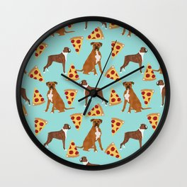 Boxer dog pattern pizza dog lover pet portraits boxers dog breed by pet friendly Wall Clock