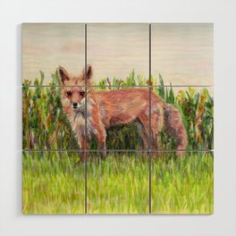Fabulous Ms Fox. From watercolor painting by Pamela Parsons Wood Wall Art
