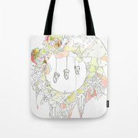 tooth Tote Bags featuring sugar tooth by Cassidy Rae Marietta