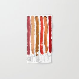 Lipstick Stripes - Red Orange Gold Hand & Bath Towel