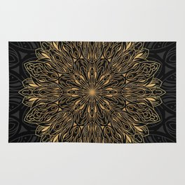 MANDALA IN BLACK AND GOLD Rug