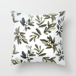 Pattern with mistletoe branches.  Watercolor Throw Pillow