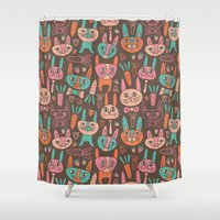 bunnies Shower Curtains featuring Bunnies by Olya Yang