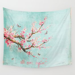Its All Over Again - Romantic Spring Cherry Blossom Butterfly Illustration on Teal Watercolor Wall Tapestry