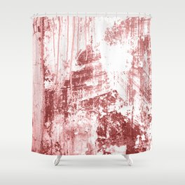Grungy Wall,rusty red Shower Curtain