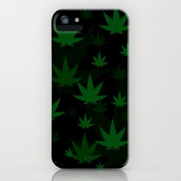 Patron with cannabis present shapes on a black background. iPhone Case