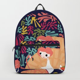 Girl with flamingo and Henri Matisse inspired decoration, vector illustration, blue Backpack