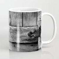 wooden Mugs featuring wooden by Bonnie Jakobsen-Martin