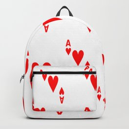 LOTS OF DECORATIVE  RED  ACES & HEARTS PLAYING CARDS CASINO ART Backpack