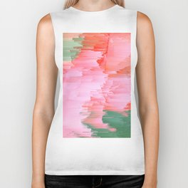 Romance Glitch - Pink & Living coral Biker Tank