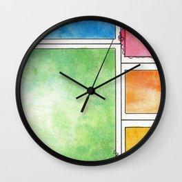 Rainbow Mondrian Wall Clock