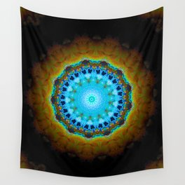 Lovely Healing Mandalas in Brilliant Colors: Black, Brown, Navy, Copper, and Light Blue Wall Tapestry