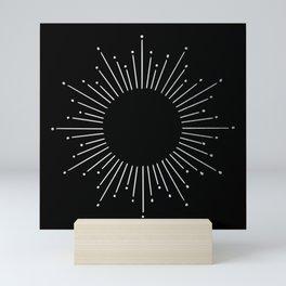Sunburst Moonlight Silver on Black Mini Art Print