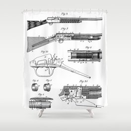 Automatic Rifle Patent - Browning Rifle Art - Black And White Shower Curtain