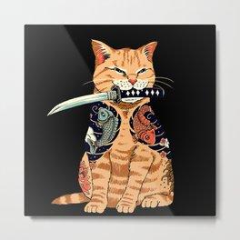 cat samurai Metal Print
