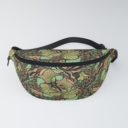 Abstract pattern with scale, waves and plants Fanny Pack