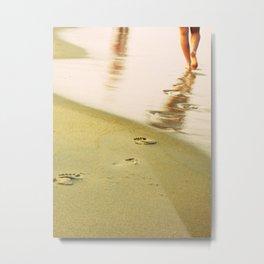 Beach walking Metal Print