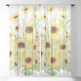 sunflowers and leaves arrangement  Sheer Curtain