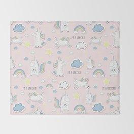 Unicorn - light pink Throw Blanket