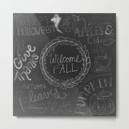 Fall Chalkboard Black and White Metal Print