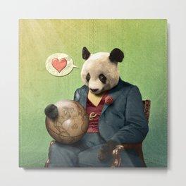 Wise Panda: Love Makes the World Go Around! Metal Print