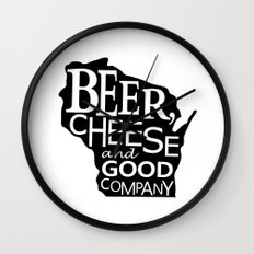 Black and White Beer, Cheese and Good Company Wisconsin Graphic Wall Clock