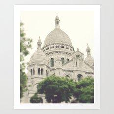 Paris - Montmartre - Sacre Coeur - white, cream, beige - Architecture - church Art Print