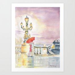 Love In The Rain Art Print