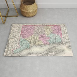 Vintage Map of Connecticut (1857) Rug