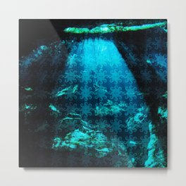 Cave Water With Logo Pattern Metal Print