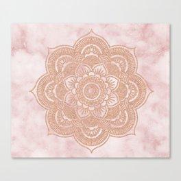 Rose gold mandala - pink marble Canvas Print