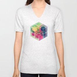 Colorful Cubes Unisex V-Neck