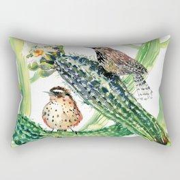 Arizona State Bird and Flower, Seguaro Cactus and Cactus Wren Rectangular Pillow