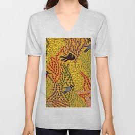 Hanging gardens, birds and flowers, kashmiri paper mache pattern Unisex V-Neck