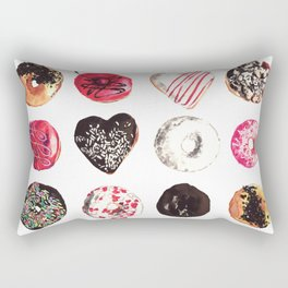 Assorted Donuts Valentine's Day Krispy Kreme Sprinkles Hearts Rectangular Pillow