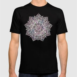 Dreams Mandala - Magical Purple on Gray T-shirt