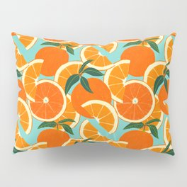 Orange Harvest - Blue Pillow Sham
