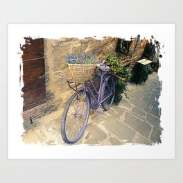 Vintage  bicycle with wicker basket at the street. Art Print