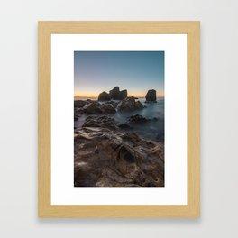 Last light on the sea horizon Framed Art Print
