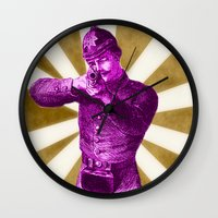 soldier Wall Clocks featuring Pink Soldier by Connor Resnick