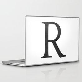 Letter R Initial Monogram Black and White Laptop & iPad Skin